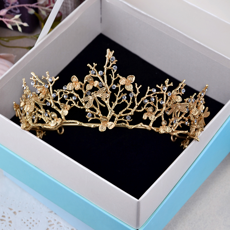 Vintage Crowns Gold Dragonfly Rhinestone Queen Princess Bridal Tiara Crown Hair Jewelry For Women Wedding Hair Accessories Gifts