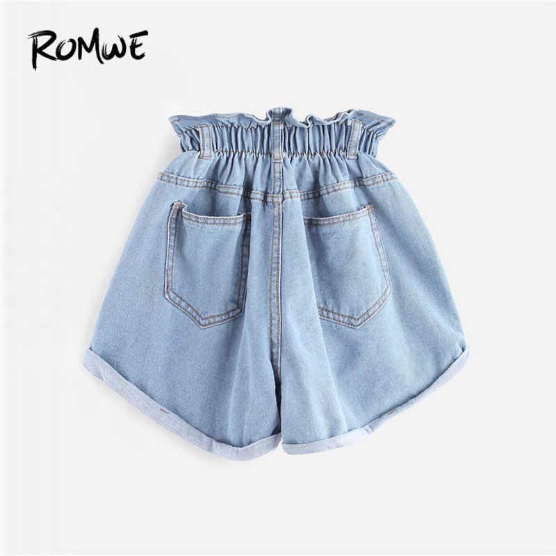 100% quality popular stores los angeles ROMWE Elastic Waist Ripped Denim Shorts 2019 Blue Fashion Women ...