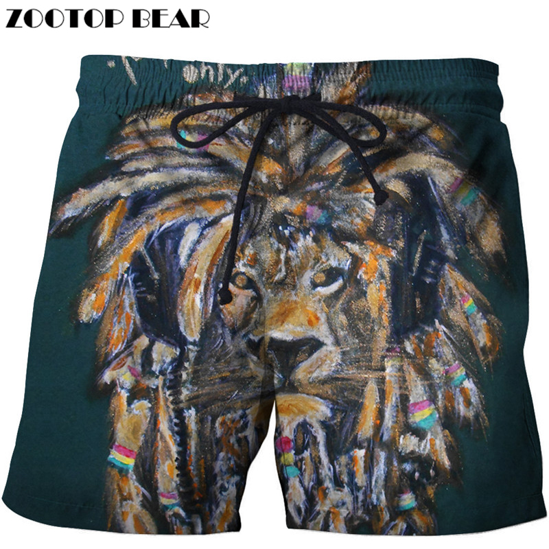3d Lion Printed Beach Shorts Men Pants Funny Board Short Quick Dry Shorts Plage Streetwear Swimwear Cool Drop Ship ZOOTOPBEAR