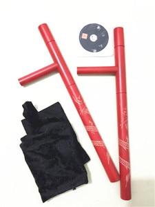 Image 5 - (2pcs/lot) T turn double Tonfa martial arts double Guaizi duckweed carving wood stick turn east turn red black wooden Tonfa