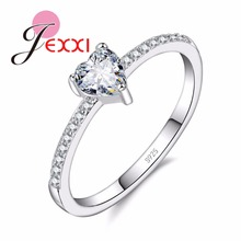 JEXXI 2017 New 925 Sterling Sliver Color Ring Love Heart Sharped CZ Crystal Ring Fashion Engagement Rings For Wemon Wholesale