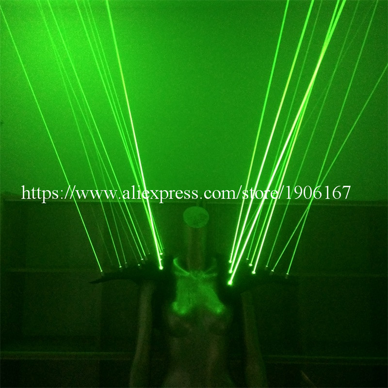 2 Pcs Green Laser Man Vest Clothes Laserman Waistcoat Shoulder With 20pcs Lasers For Stage Nightclub