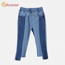 Babyinstar/джинсовые штаны для маленьких девочек, Повседневные детские осенние брюки, штаны на подкладе для девочек, детские штаны для девочек 2018