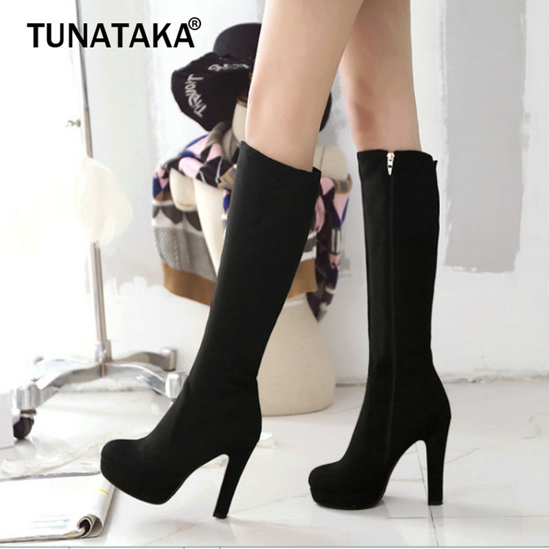 Women Platform Square High Heel Fashion Knee High Boots Side Zipper Round Toe Winter Shoes Woman Gray Wine Red Black women lace up comfortable square heel platform knee high boots fashion round toe keep warm winter shoes black red blue