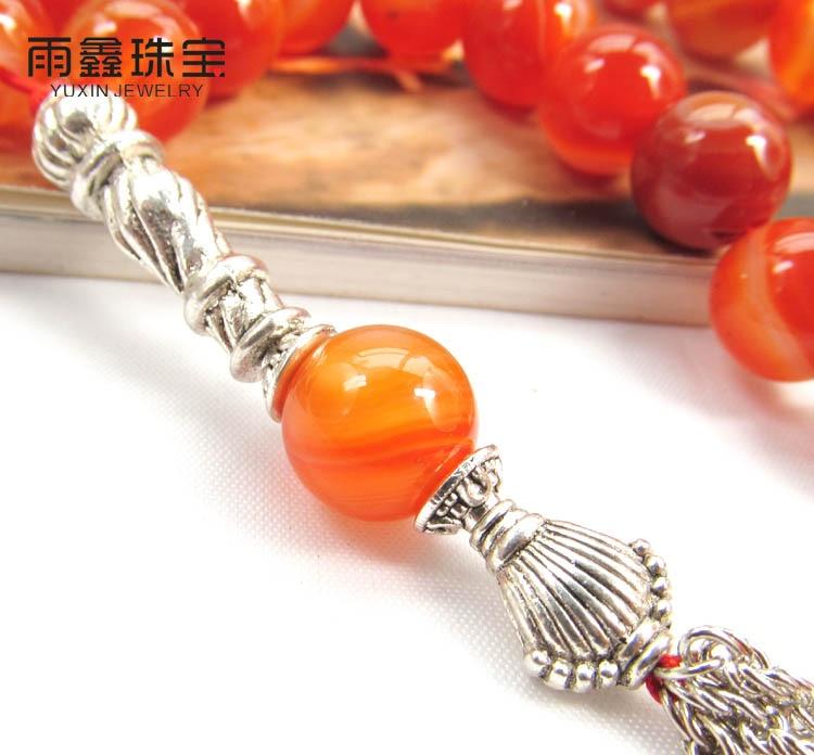 Natural Sardonyx Stone bracelet Islamic musilm 33 prayer beads Allah tashih Rosary bead for Christmas Holiday  Halloween gift