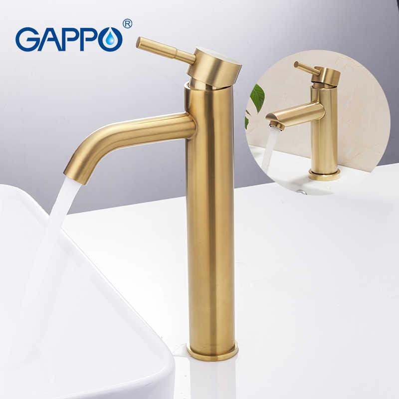 Gappo torneira do banheiro de ouro torneira da bacia do banheiro misturador água fria e quente pia único punho deck montado ouro cachoeira