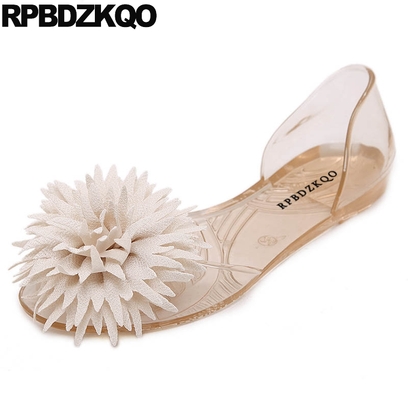 Women Shoes 2018 Spring Open Toe Slip On Summer Jelly Beach Pvc Embellished Flower Plastic Sandals Transparent Holiday Nude Flat