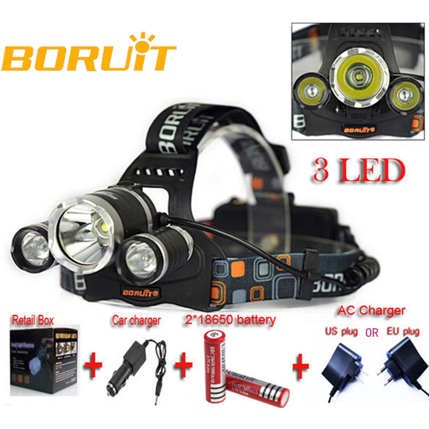 Led Headlight 6000LM 3LED  Head Lamp Waterproof Cycling Bike Light Headlamp Frontale 2*18650 Battery+AC Charger+Car Charger lumiparty 4000lm headlight cree t6 led head lamp headlamp linterna torch led flashlights biking fishing torch for 18650 battery