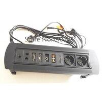 Multifunctional 2 EU Power AV HDMI USB VGA Internet Customized Flipping Fur Niture Meeting Socket