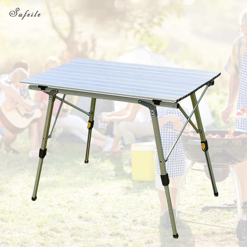 SUFEILE Portable Outdoor Folding Table Lifting Camping Barbecue Table Lift Aluminum Alloy Beach Leisure Picnic Table D50