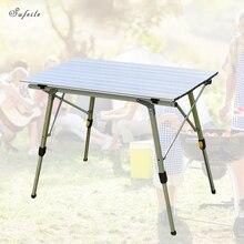 SUFEILE taşınabilir açık katlanır masa kaldırma kamp barbekü masa kaldırma alüminyum alaşım plaj eğlence piknik masası D50