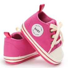 Canvas Shoes Lace-up Baby Girls Sneaker Prewalker 0-18M