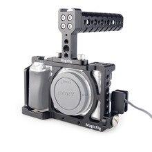 MAGICRIG DSLR هيكل قفصي الشكل للكاميرا مع أعلى مقبض + HDMI مشبك كابلات لسوني A6400/A6000/A6300/A6500 لتركيب ميكروفون رصد فلاش