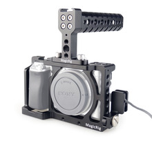 MAGICRIG carcasa de camara DSLR con asa superior y abrazadera de Cable HDMI para Sony A6400/A6000/A6300/A6500, para montar micrófono, Monitor Flash
