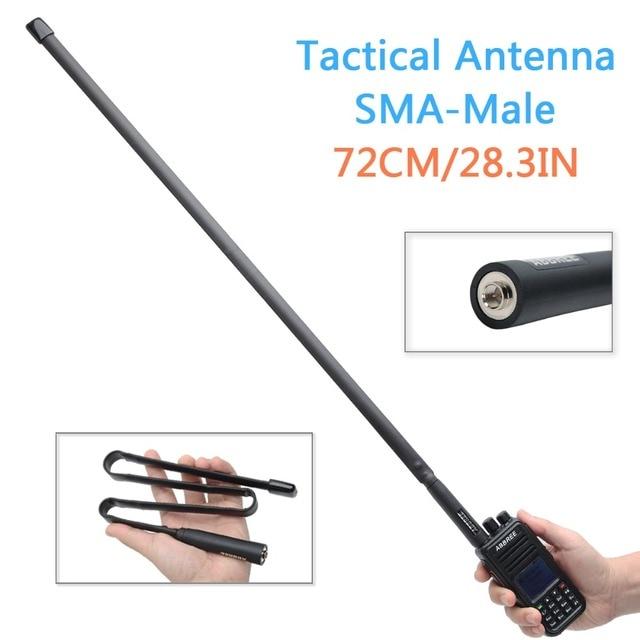 Abjessie conector macho de banda Dual, antena táctica plegable para Yaesu TYT Wouxun Walkie Talkie, 72cm/28,3 pulgadas de longitud, 144/430Mhz