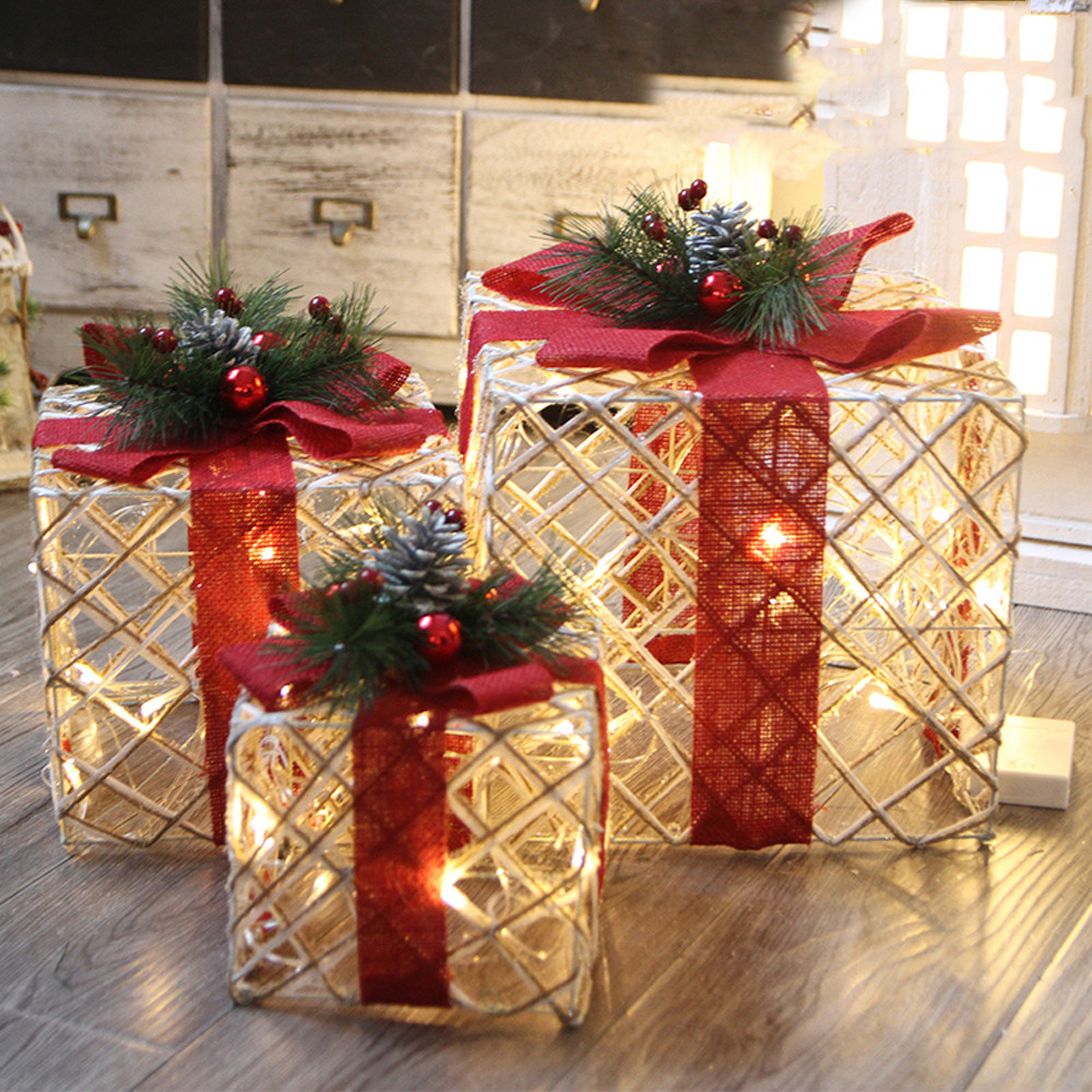 Christmas Luminous Gift Box Home Outdoor Decoration Set Of 3 Glowing Package 11.15