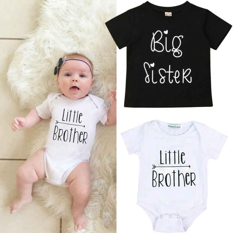 PUDCOCO Toddler Kids Baby Little Brother Romper Big Sister T-shirt Short Sleeve Outfits Support wholesale