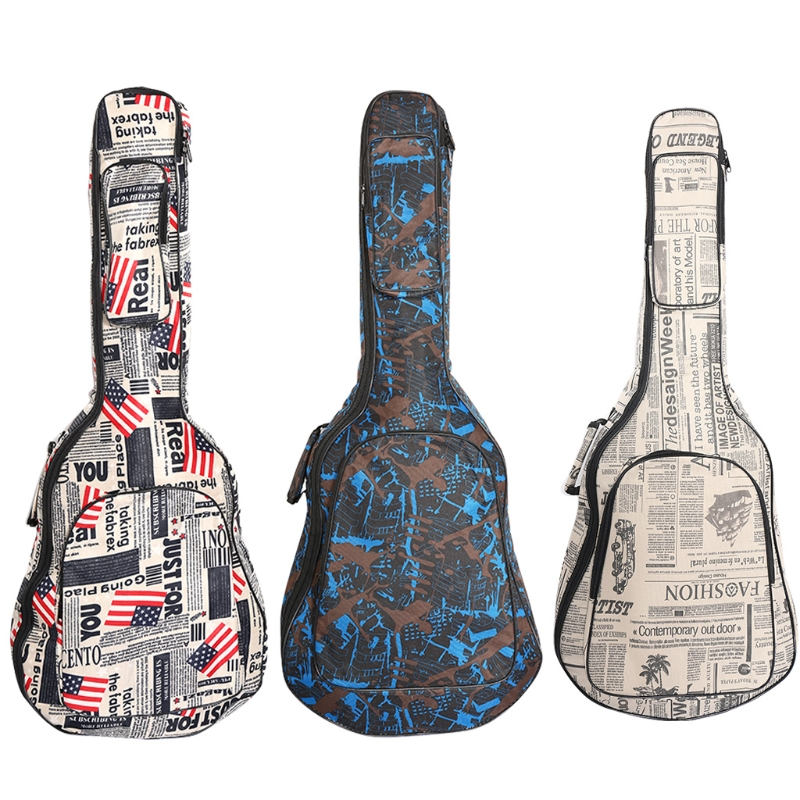 40 41 Guitar Double Straps Padded Electric Acoustic Soft Case Gig Bag Backpack 40 41inch acoustic classical guitar bag case backpack adjustable shoulder strap portable 4mm thicken padded black