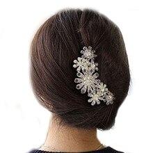 Горячий Цветок Кристалл Rhinestone Лепесток Tuck Гребень Женщины Волос Pin Зажим Для Волос Головные Уборы Аксессуары 5BV5 7GAD