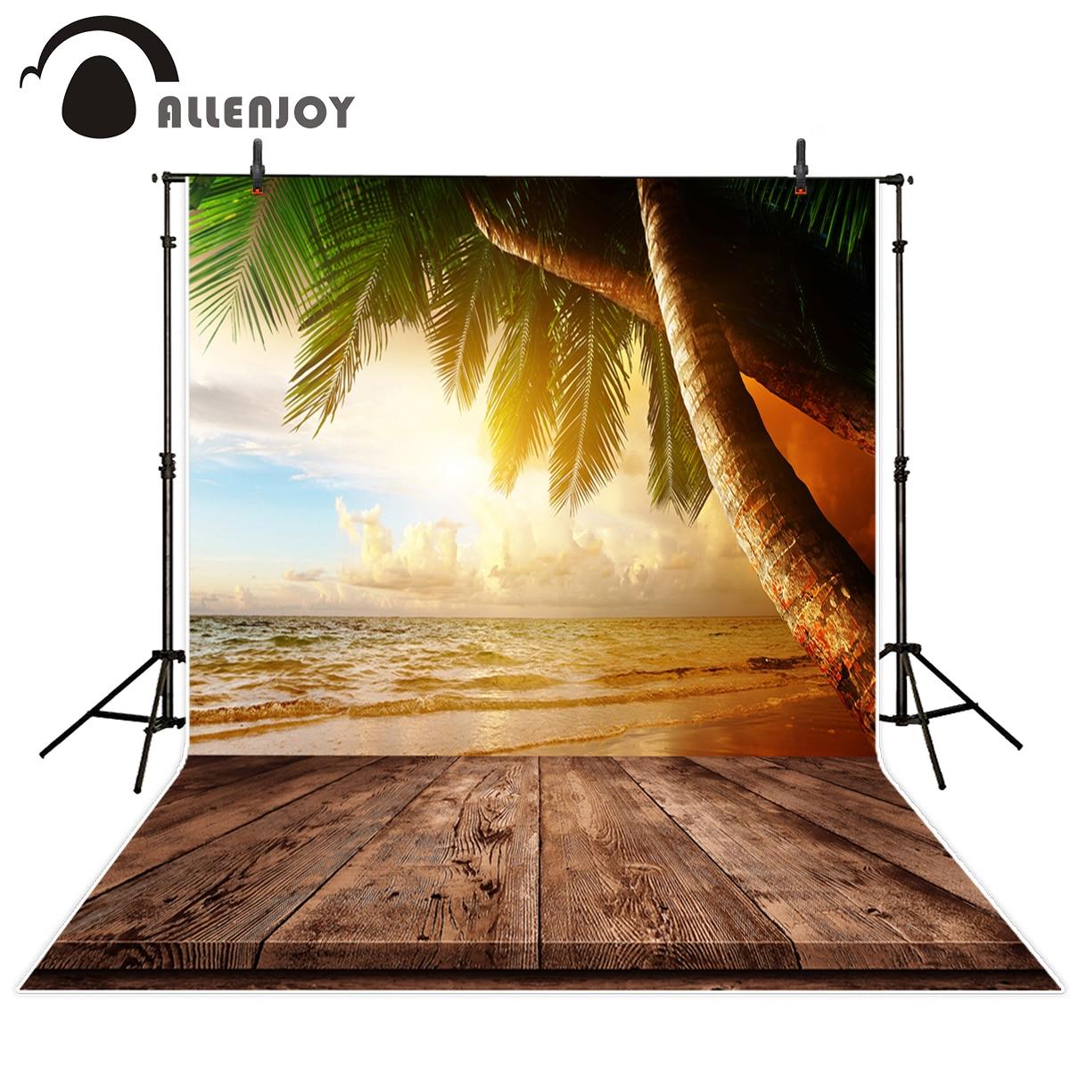 Allenjoy photography theme background Sunset Sea coconut tree Beach for summer photos personal customize camera backdrop sunset sea surf beach fantasy landscape