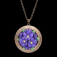 Ancient Bronze Plated Flower Shaped Pottery Pendant Long Chain Photo Box Necklaces For Women Gift