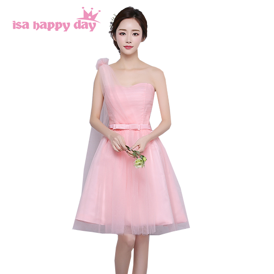 3d3ad2516 sweetheart tulle bridesmaid light pink bridesmaids girls dresses bridemaids one  shoulder brides maid dress ball gown H4054