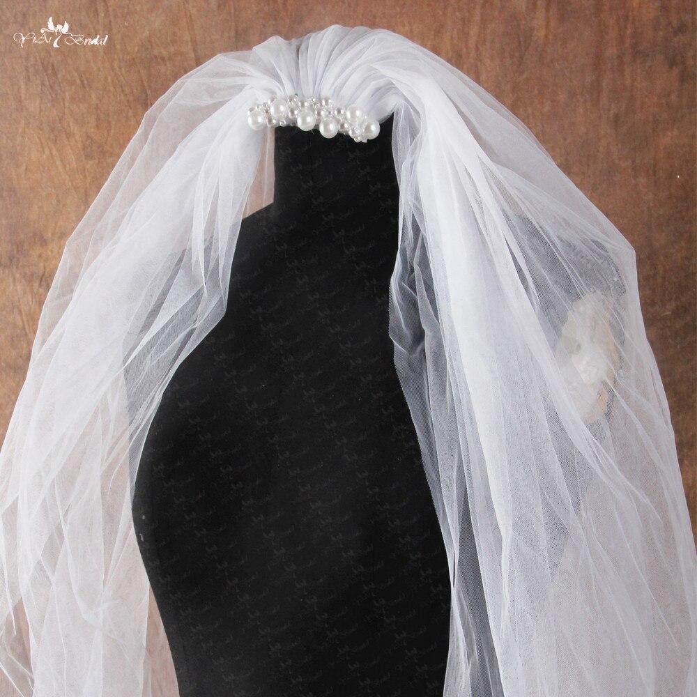 RSV29 Deux Couches 2 m Long Tulle De Mariage Voile Avec Peigne Perles