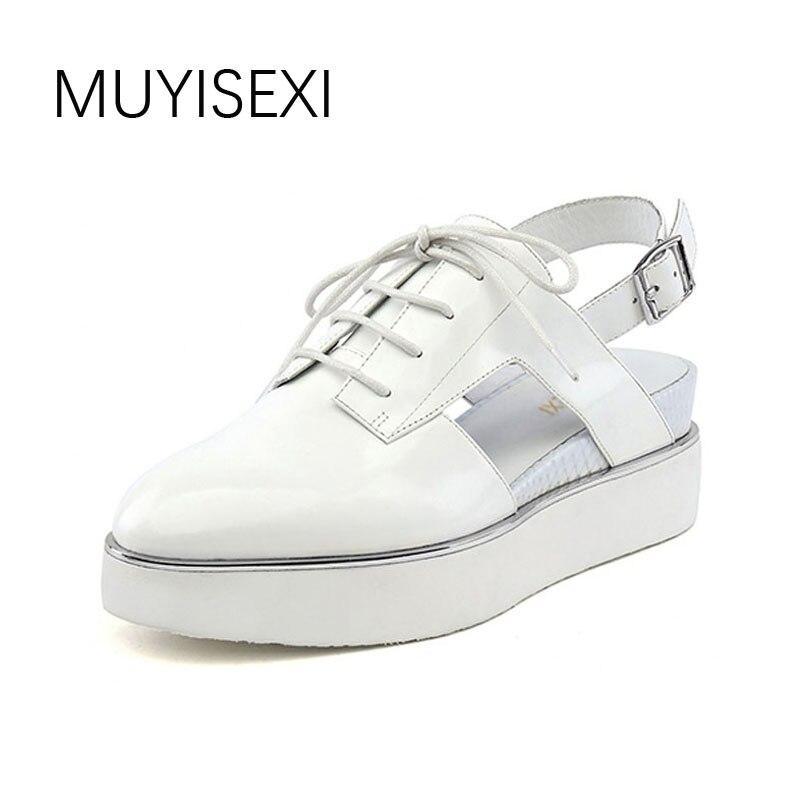 Summer Slingbacks Women Platform Shoes Casual Genuine Leather Woman Creepers Sapato Feminino Creepers black white HL99