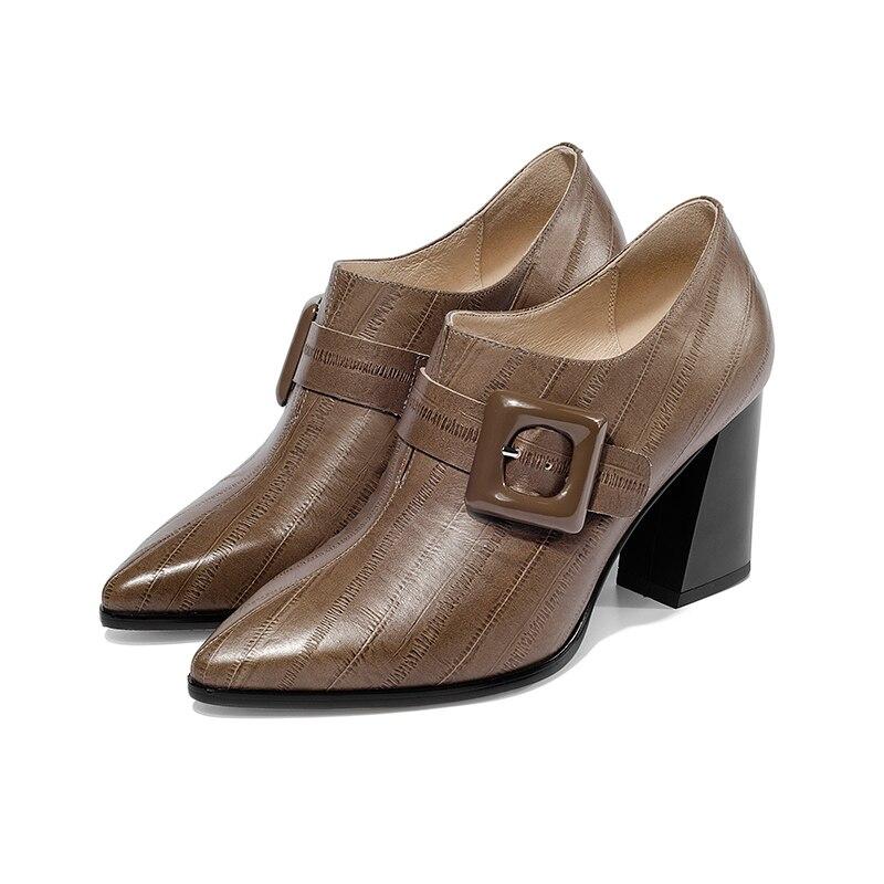 Isnom 2019 봄 여성 펌프 지적 발가락 크로스 묶인 신발 엠 보스 정품 가죽 레이디 신발 패션 하이힐 신발 여성-에서여성용 펌프부터 신발 의  그룹 3