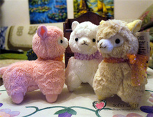 Size Small Free shipping AM Alpaca plush toys 17cm kasso with ribbons cute warm stuffed animals 3 colors christmas gifts