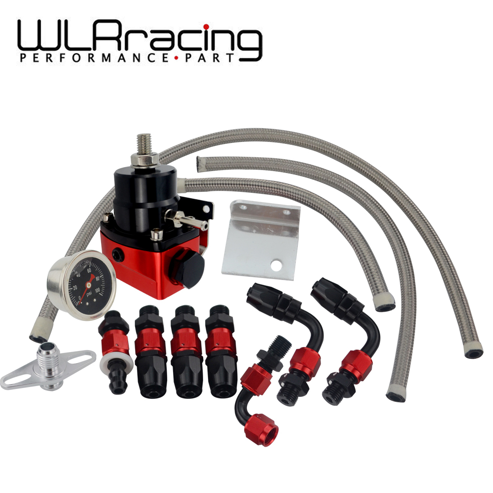 WLR RACING - Black&Red Universal Fpr AN6 Fitting EFI Fuel Pressure Regulator For 7MGTE MKIII With Hose Line Fittings Gauge
