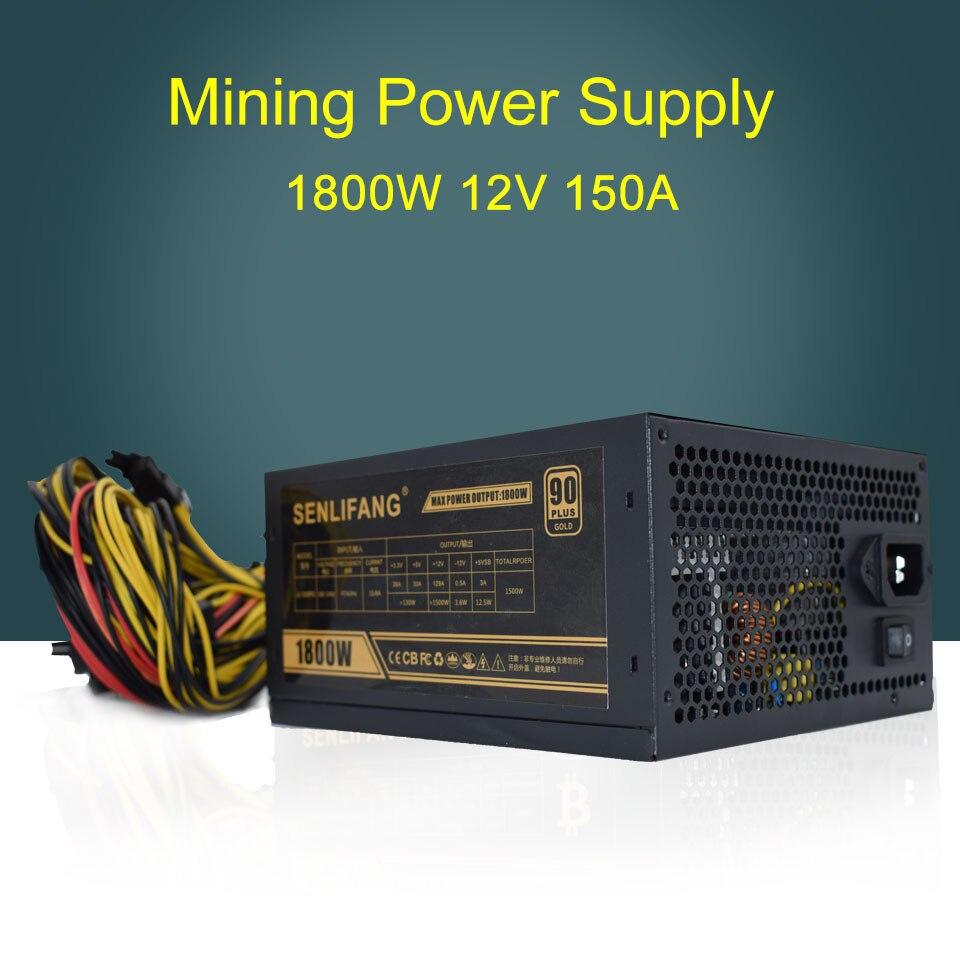 6 GPU minero 1800 W ethereum Miner fuente de alimentación para bitcoin mineros apoyo 6 gráfica nueva 6 SATA interfaz potencia minera