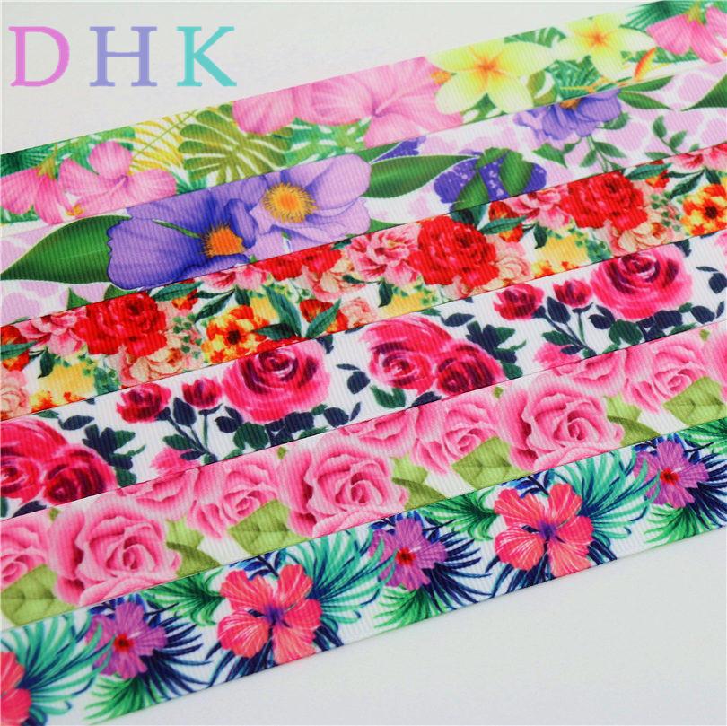 Dhk 7/8 »5 ярдов розовыми цветами печатная корсажная лента аксессуар hairbow головные уборы DIY украшения 22 мм c1218