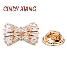 CINDY XIANG New Arrival Cubic Zirconia Bow Collar Pins For Women And Men Unisex Small Brooch Copper Jewelry Wedding Suit