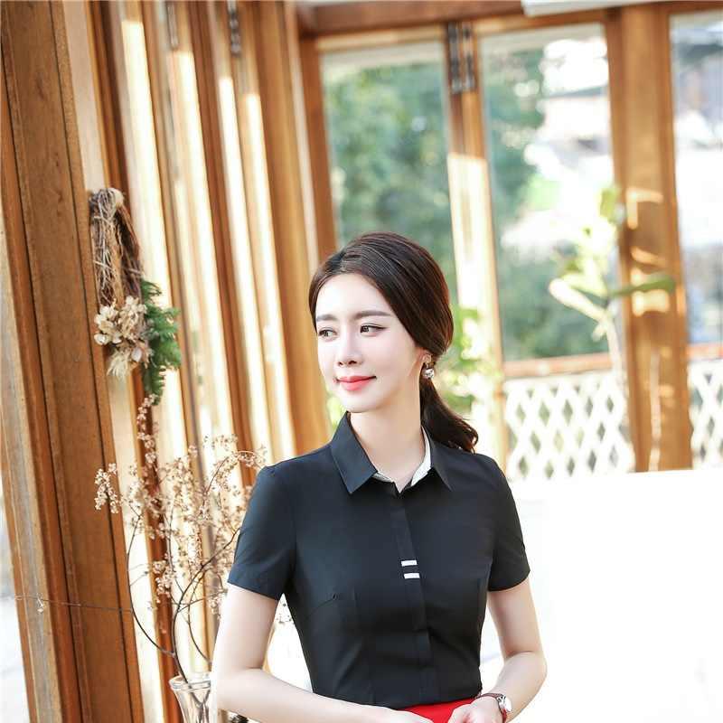 Yenilik Siyah Ince Moda Bluzlar ve Gömlek Kısa Kollu Kadın Iş Üniforma Stilleri Kadın Üstleri Güzellik Salonu Elbise