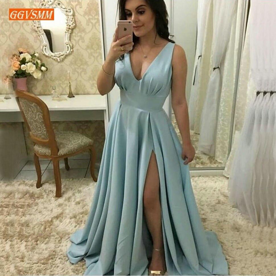 Mode bleu ciel femmes longues robes de soirée 2019 Sexy robes de soirée v-cou élastique Satin une ligne fente latérale Slim Fit robe formelle
