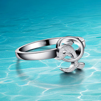 The Dolphins 925 Pure Sliver Ring Women 925 Sterling Silver Ring Popular Jewelry Sweet And Lovely