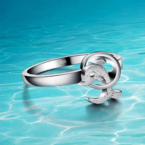 The dolphins 925 pure sliver ring;women 925 sterling silver ring;Popular jewelry;Sweet and lovely;