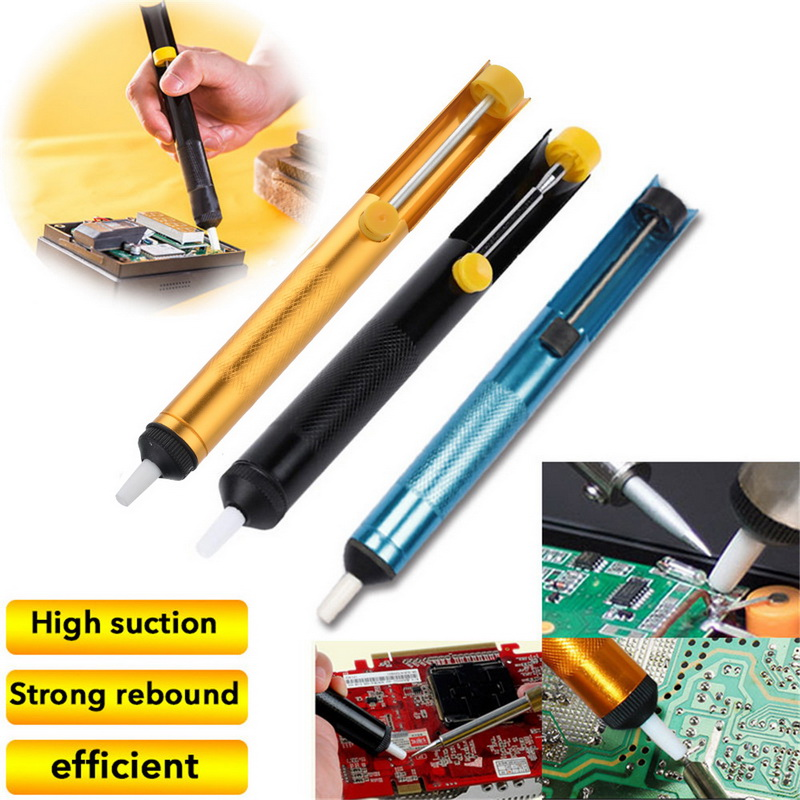 Aluminum Metal Desoldering Pump Suction Tin Gun Soldering Sucker Pen Removal Vacuum Soldering Iron 3 Color Welding Hand Tools