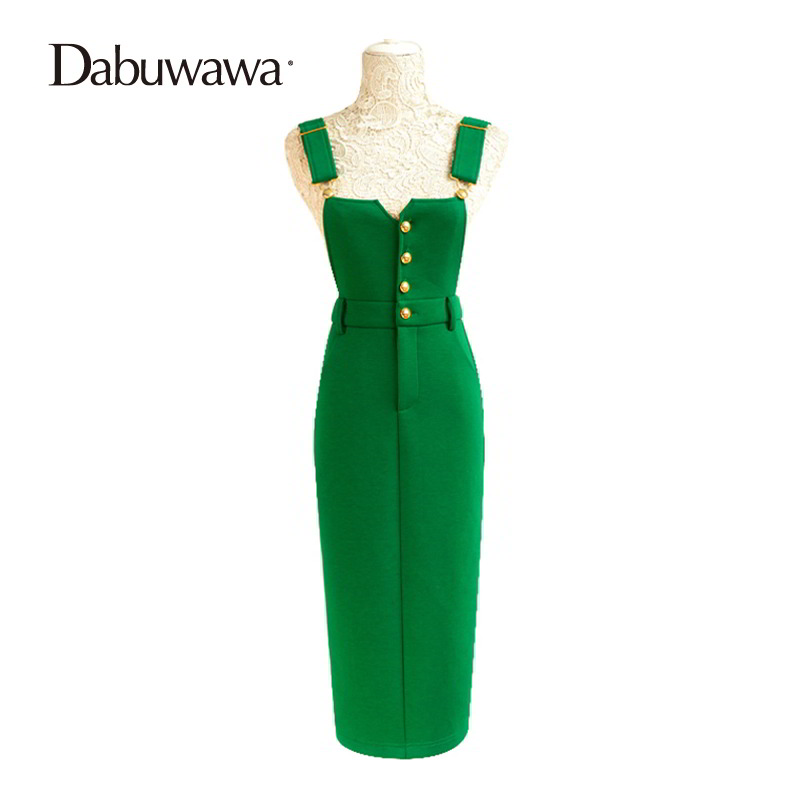 ccf2b2e825 Dabuwawa Slim Casual High Waist Pencil Skirts Europe And United States Style  Overalls Midi Skirts Suspender