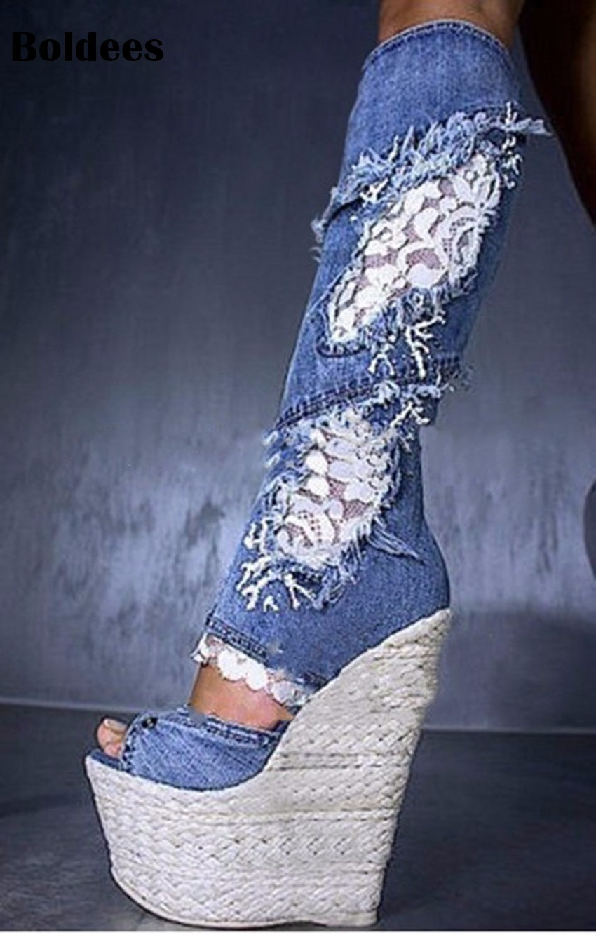 Sexy Blue Denim Lace Knee High Boots Women Platform Wedge Heeled Open Toe Lace Decor Long Boot Cowboy High Heel Booty R1 Size 43 women s valentine wedge high heeled