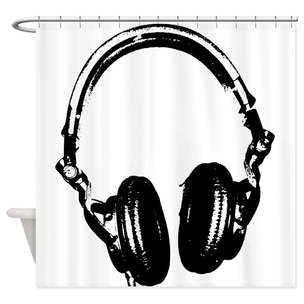 Dj Headphones Stencil Style T Shirt Decorative Fabric Shower Curtain 12 Hooks Curtains Bath Customize Wholesale