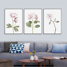 Nordic Canvas Poster Art Green Plant Leaf Pints Pink Round Flower Rose Posters And Prints Gold Letter Cuadros Unframed