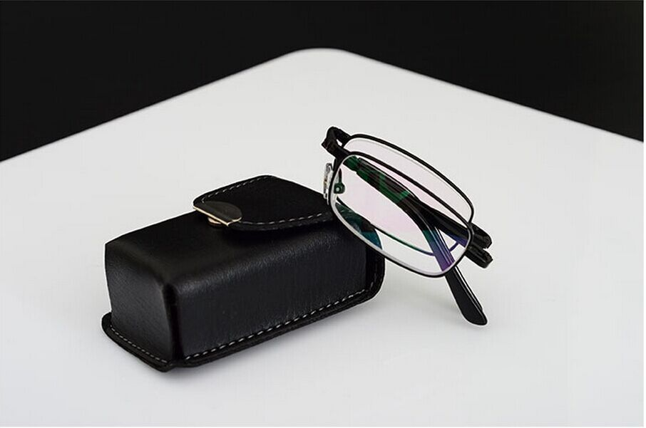Black fold high class PU box Reading glasses ultra...