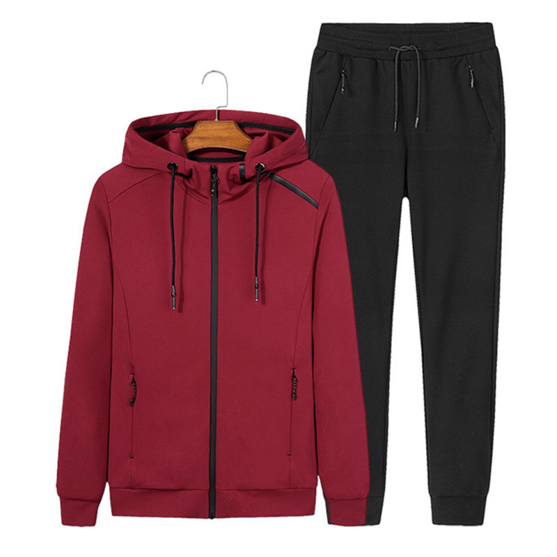 2018 Fashion Spring Autumn Men Sporting Suit Set Jacket+Pant Sportswear Two Piece Zipper Hooded Tracksuit For size L-8XL