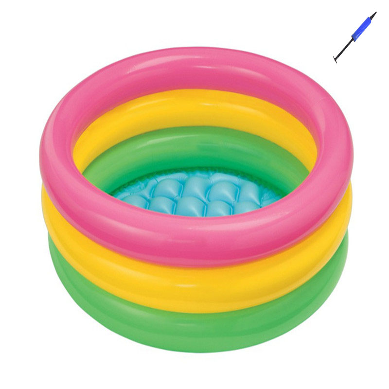 Rainbow <font><b>Baby</b></font> Inflatable Round Swimming <font><b>Pool</b></font> for 0-3 Years Old PVC Float Accessories Kids Pscina Para Piscine Gonflable Alberca image