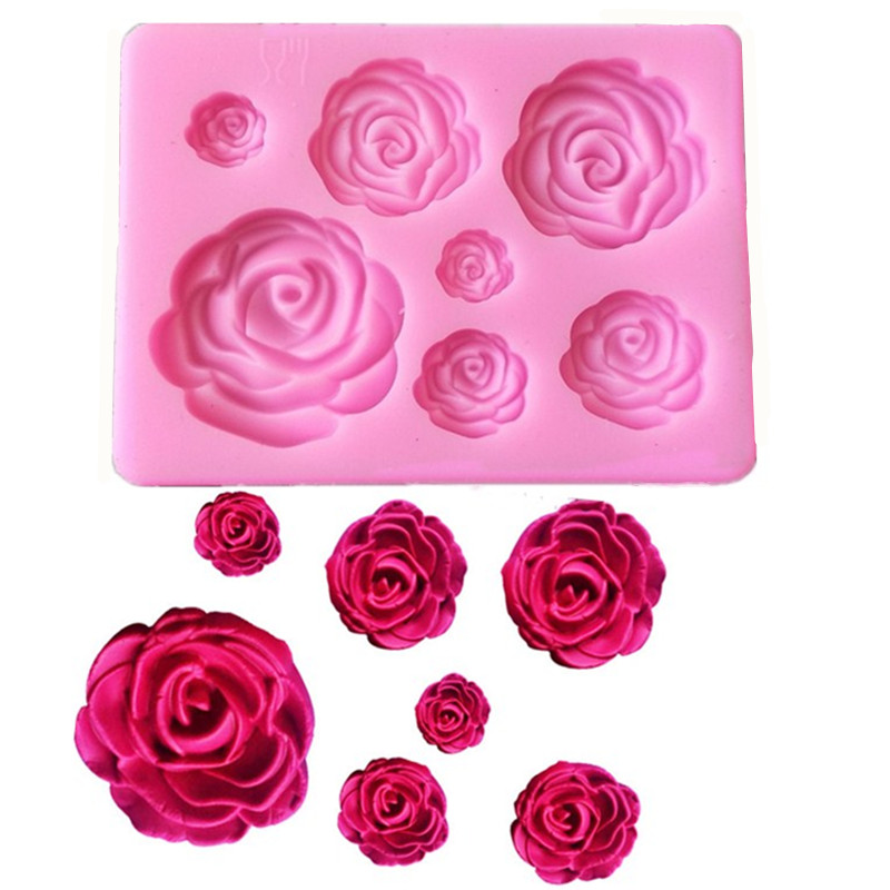 1PC Rose Flowers Shaped <font><b>Fondant</b></font> <font><b>Silicone</b></font> <font><b>Mold</b></font> Craft Chocolate Baking <font><b>Mold</b></font> <font><b>Cake</b></font> <font><b>Decorating</b></font> <font><b>Tools</b></font> kitchen Pastry <font><b>Tool</b></font> L031 image