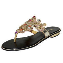 2017 Summer New Fashion Rhinestone Sandals Roman Large Size Comfortable Flip Flops Luxury Shoes For Women(China)