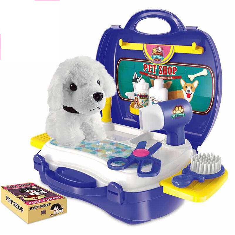 Kids Pet Groomer Kits Educational Toys For Children 16pcs Dog Doll Pet Doctor Role Play Games Toys For Girls Pet Shop Suitcase