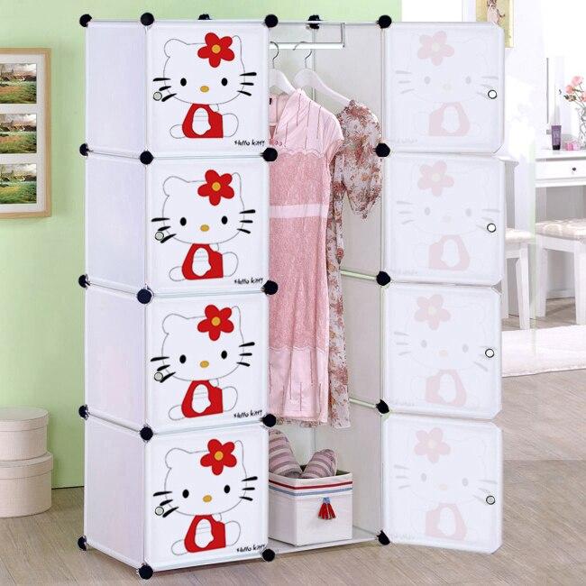Cartoon child simple wardrobe baby wardrobe folding toy storage ...